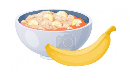 Porridge with bananas. Cartoon oat bowls. Plate with oatmeal or muesli and yellow fruit. Morning food, diet product. Cooking and serving meal. Breakfast healthy menu, vector illustration