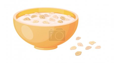 Porridge. Cartoon plate with oatmeal or muesli. Oat bowl and scattered flakes. Traditional morning food. Meal for breakfast cooking from cereal. Vegan products, vector illustration