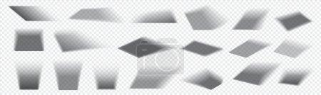 Illustration pour Ombre carrée réaliste. Tombé nuances de gris à partir d'objets rectangulaires. Collection d'effets d'occultation de superposition isolés sur fond transparent. Lumière par la fenêtre. Ensemble de modèles décoratifs vectoriels - image libre de droit