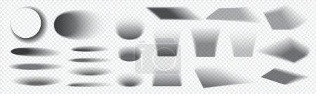 Illustration pour Ombre ronde et carrée. Effet réaliste d'ombre de sol gris avec des bords doux. Obscurcissement isolé de la lumière du soleil tombant. Superposition décorative de formes sombres sur fond transparent, modèles vectoriels - image libre de droit