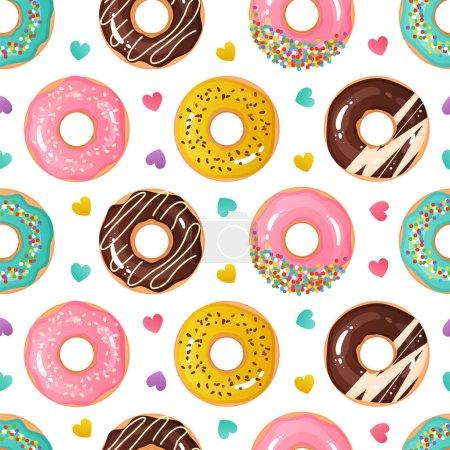 Illustration pour Modèle de beignet. Texture homogène des desserts sucrés. Des beignets savoureux. Confiserie vitrée ronde de bande dessinée et confettis de coeur colorés. Délicieux mets cuits au four. Modèle de papier d'emballage mignon. Fond vectoriel - image libre de droit