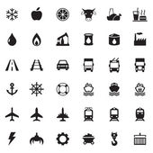 Set vector web icons transport petroleum auto travel sea aviation and industrial icons vector icons for your design project or presentation white icons