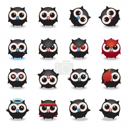 Lovely owls, owls set of round, more smiley, cheer...