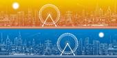 Panorama of the city. Ferris wheel, office buildings, town nightlife, neon lines, day and night, vector design art