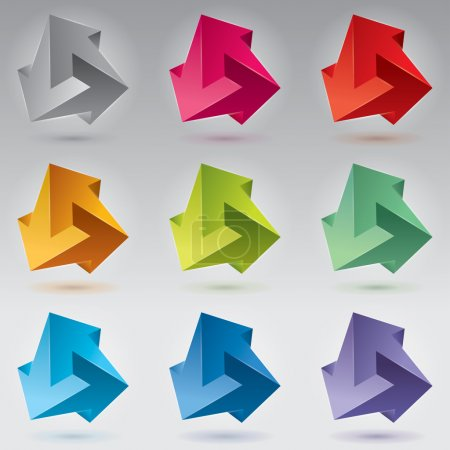 9 Impossible figure, 3 arrows, impossible arrows. Abstract vector objects, color set