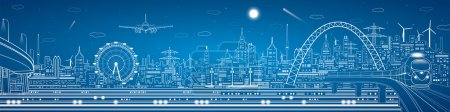 Photo for Vector industrial and transport panorama, vector lines landscape, night city, airlane fly, vector design - Royalty Free Image