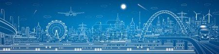 Photo pour Panorama vectoriel industriel et de transport, paysage de lignes vectorielles, ville nocturne, mouche aérienne, conception vectorielle - image libre de droit