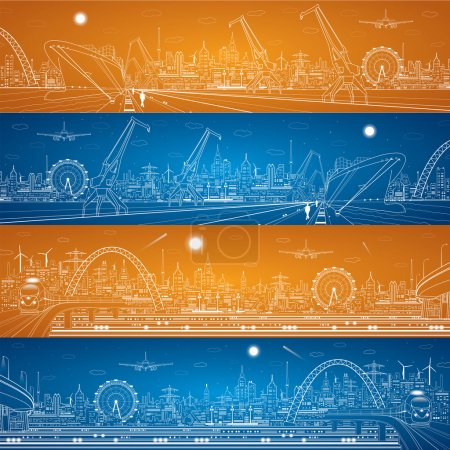 Vector industrial cargo port and transport panorama, vector lines landscape, night city, airlane fly, vector design