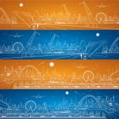 Vector industrial cargo port and transport panorama vector lines landscape night city airlane fly vector design