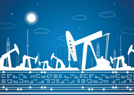 Petroleum panorama, industrial landscape, power plant, vector lines design