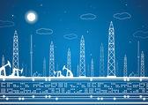Panorama ropné, průmyslové krajiny, elektrárny, vektorové čáry design