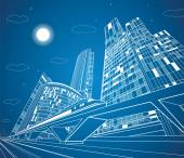 Train move on the bridge dynamic composition night city on background vector industrial and transport panorama vector lines landscape night town vector design