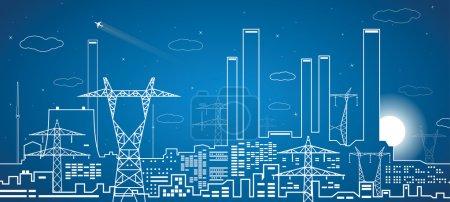 Illustration pour Lignes vectorielles centrale électrique, lignes électriques, conception de vecteurs industriels, infrastructure - image libre de droit