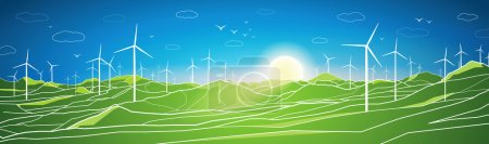 Vector ecology panorama, mountains landscape, windmills, blue sky and green open spaces