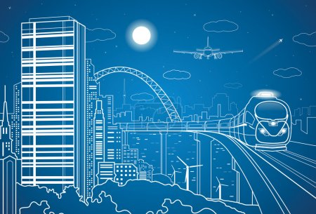 Photo for Vector city and transport panorama, vector lines landscape, night town, airplane fly, vector design, train on the bridge - Royalty Free Image