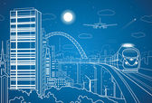 Vector city and transport panorama vector lines landscape night town airplane fly vector design train on the bridge