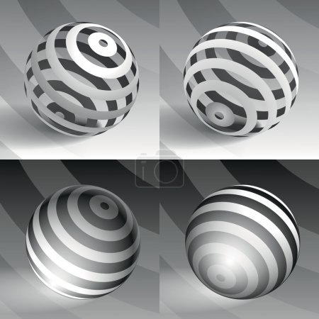 3d vector sphere striped volume form, a sample for your business, black and white