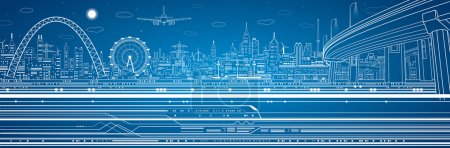 Vector industrial and transport panorama, vector lines technology landscape, day and night city
