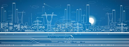 Vector lines power plant, train, transport panorama, industrial vector design, infrastructure