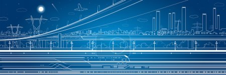 Illustration for Car overpass, industrial panorama, infrastructure, urban plot, train move - Royalty Free Image