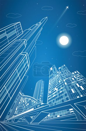 Train move on the bridge, dynamic composition, night city on background, vector industrial and transport illustration, vector lines landscape, night town, vector design