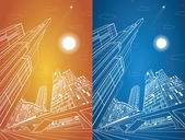 Train move on the bridge dynamic composition night city on background vector industrial and transport illustration vector lines landscape night town vector design