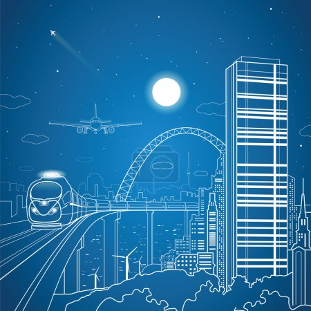 City and transport composition, vector lines landscape, night town, airplane fly, train on the bridge, vector design