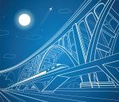 Train move on the road dynamic composition big bridge on background vector industrial and transport illustration vector lines landscape night vector design
