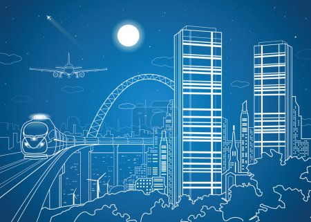 City and transport image, night town, airplane fly, train on the bridge