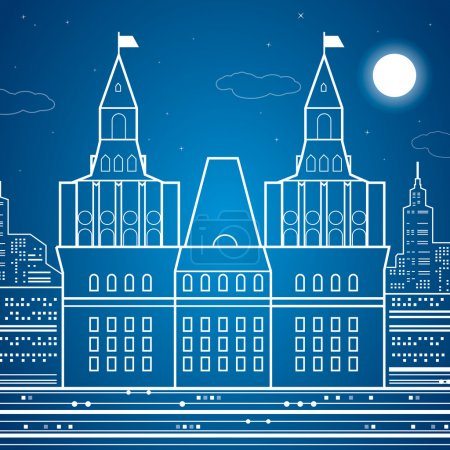 Castle, old kremlin, vector design art composition, night town on background
