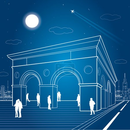 Infrastructure illustration, night city, building with arches, people walk on the square, vector design