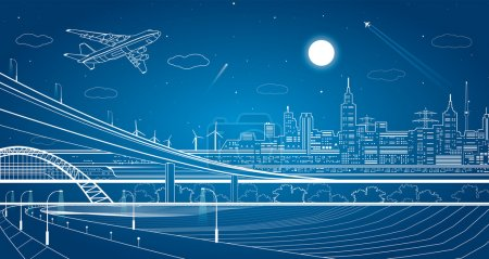 Car overpass, city infrastructure, urban plot, plane takes off, train move, transport illustration, vector design art