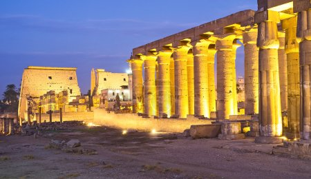 The evening view on the Luxor Temple from the back...