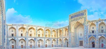 Panorama of the courtyard of Ulughbek Madrassah de...