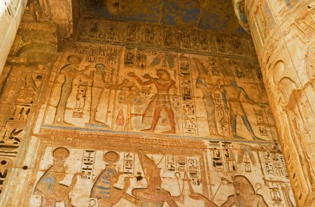 The depicting of Pharaohs lifes on the temples' wa...