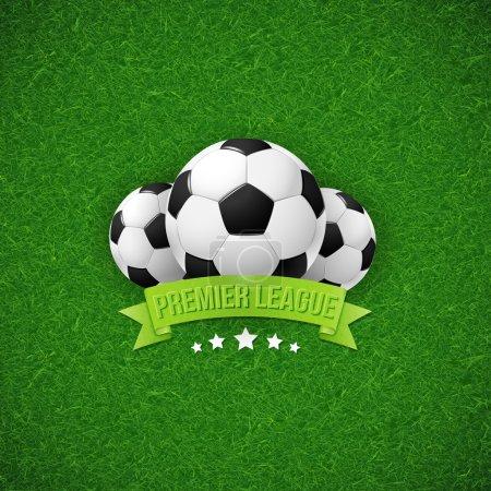 Illustration for Soccer football poster. Soccer football field background with soccer football balls. Vector illustration. - Royalty Free Image
