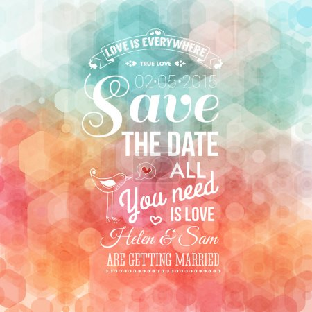 Illustration for Save the date for personal holiday. Wedding invitation. Vector image. - Royalty Free Image