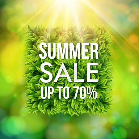 Illustration for Summer sale advertisement poster. Square shape made of leaves on  Blurred background with bokeh effect.Vector illustration. - Royalty Free Image