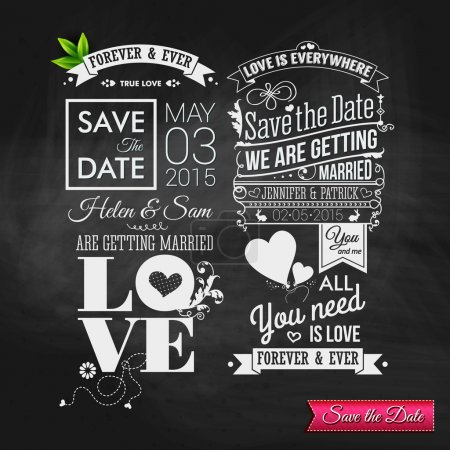 Vintage typography wedding set on chalkboard.