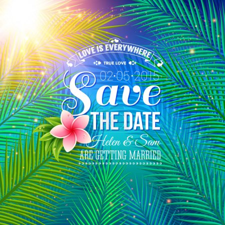 Illustration for Attractive Save the Date Concept for Wedding with Nature Style, Emphasizing Palm Leaves Illuminated by Sunlight. - Royalty Free Image