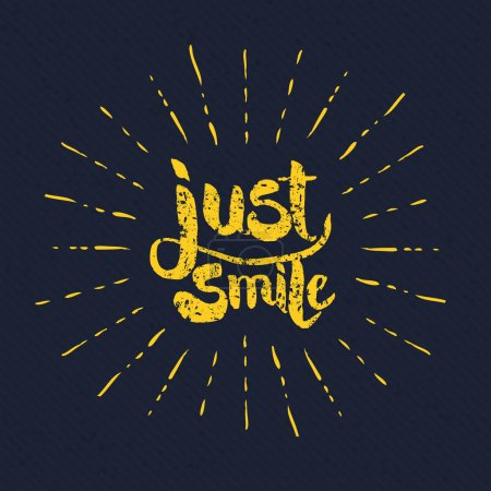 Illustration for Simple Yellow Just Smile Texts with Rays on Gray Background Graphic Design. - Royalty Free Image
