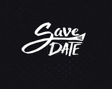 Illustration for Conceptual White Save the Date Text Design on Abstract Black Background. - Royalty Free Image
