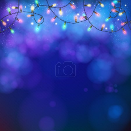 Blue party background with a twirling garland of g...