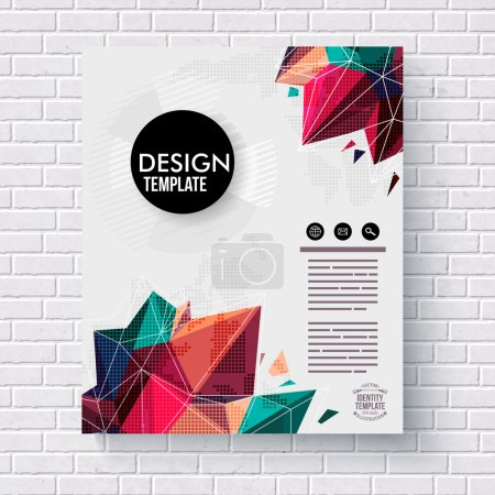 Stylish design template with colorful crystals