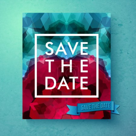 Illustration for Bold simple Save The Date wedding template with simple classic white text in a frame over a geometric abstract background with blended hexagons in pink and blue, vector illustration - Royalty Free Image