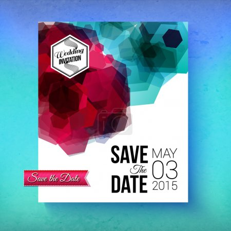 Illustration for Artistic romantic Save The Date wedding invitation or card template with bold abstract geometric blue and pink patterns over white with simple black text and a graduated blue background, vector design - Royalty Free Image