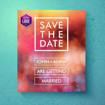 Illustration for Bold simple Save The Date template design with white text in frames and boxes over an abstract red toned background with bokeh and a purple hexagon with the word - Love, vector illustration - Royalty Free Image