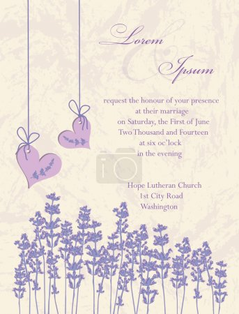 Illustration for Wedding invitation card, flyer design, packaging design. Lavender background, product labels illustration. - Royalty Free Image