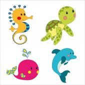 Set of cartoon sea creatures isolated on white illustration