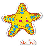 Cartoon star fish isolated on white